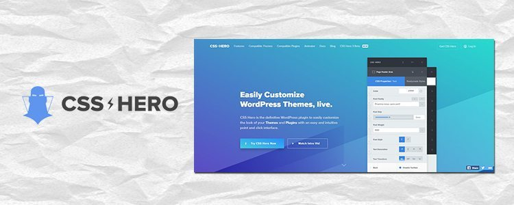 a logo of css hero and a screenshot of a sign up page that says easily customize wordpress themes, live. which is good to customize the design of your blog.