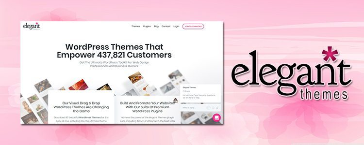 a logo of elegant themes, beside is a screenshot of a homepage which is very informative an ideal for new bloggers