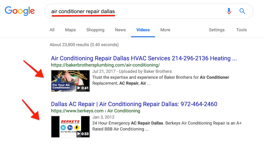 video search results for air conditioning contractors